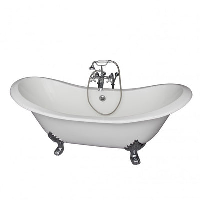 Barclay Marshall 71″ Cast Iron Double Slipper Clawfoot Tub Kit Brushed Nickel in White Background