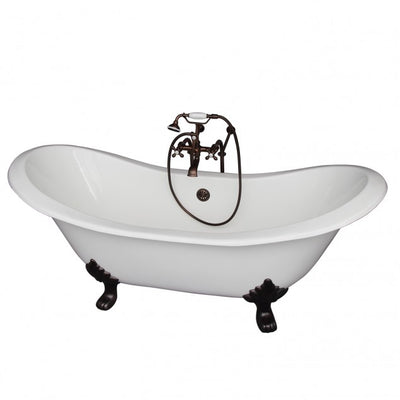 Barclay Marshall 71″ Cast Iron Double Slipper Clawfoot Tub Kit Oil Rubbed Bronze in White Background