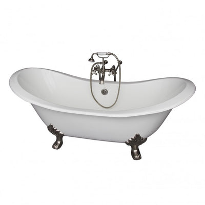 Barclay Marshall 71″ Cast Iron Double Slipper Clawfoot Tub Kit Polished Chrome in White Background