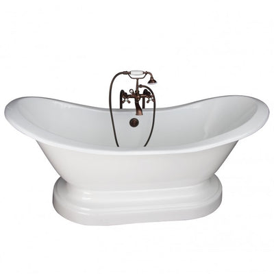 Barclay Marshall 71″ Cast Iron Double Slipper Tub Kit Oil Rubbed Bronze in White Background