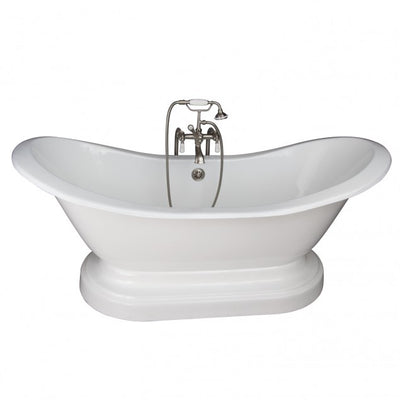 Barclay Marshall 71″ Cast Iron Double Slipper Tub Kit Brushed Nickel in White Background