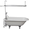 Barclay TKCTR67-CP2 Brocton 68″ Cast Iron Roll Top Tub Kit – Polished Chrome Accessories in White Background