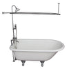 Barclay TKCTR7H60-CP3 Beecher 60″ Cast Iron Roll Top Tub Kit – Polished Chrome Accessories in White Background