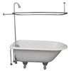 Barclay TKCTRH54-CP3 Antonio 55″ Cast Iron Roll Top Tub Kit – Polished Chrome Accessories in White Background