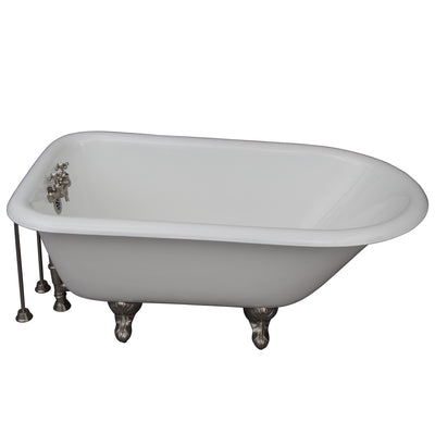 Barclay Products Antonio 55″ Cast Iron Roll Top Tub Kit – Brushed Nickel Accessories - Affordable Cheap Freestanding Clawfoot Bathtubs Tub