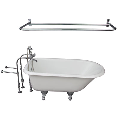 Barclay Antonio 55″ Cast Iron Roll Top Tub Kit Polished Chrome in White Background