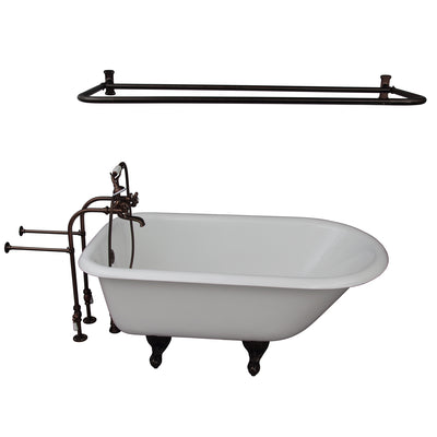 Barclay Antonio 55″ Cast Iron Roll Top Tub Kit Oil Rubbed Bronze in White Background