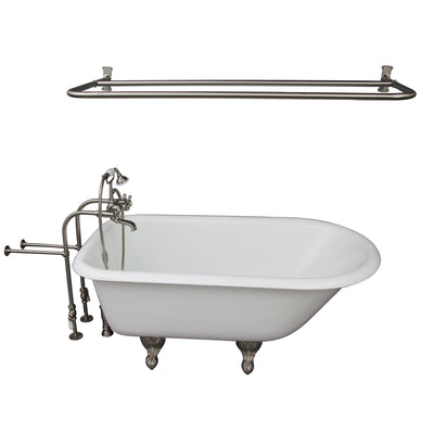 Barclay Antonio 55″ Cast Iron Roll Top Tub Kit Brushed Nickel in White Background