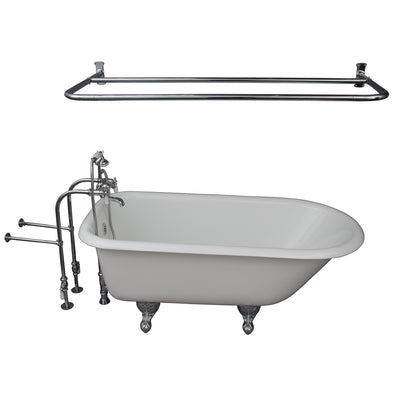 Barclay Bartlett 60″ Cast Iron Roll Top Tub Kit Polished Chrome in White Background