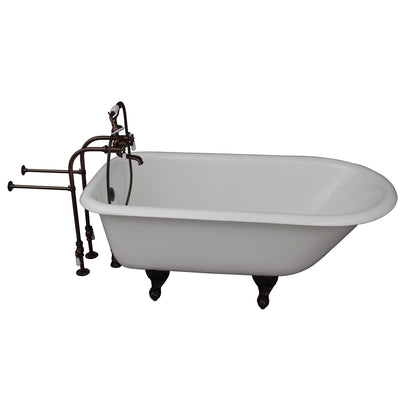 Barclay Bartlett 60″ Cast Iron Roll Top Tub Kit Oil Rubbed Bronze in White Background