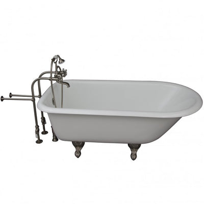 Barclay Bartlett 60″ Cast Iron Roll Top Tub Kit Brushed Nickel in White Background