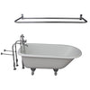 Barclay Brocton 68″ Cast Iron Roll Top Tub Kit Polished Chrome in White Background