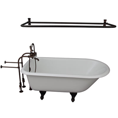 Barclay Brocton 68″ Cast Iron Roll Top Tub Kit Oil Rubbed Bronze In White Background