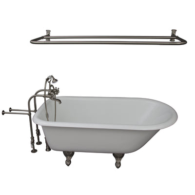 Barclay Brocton 68″ Cast Iron Roll Top Tub Kit Brushed Nickel in White Background