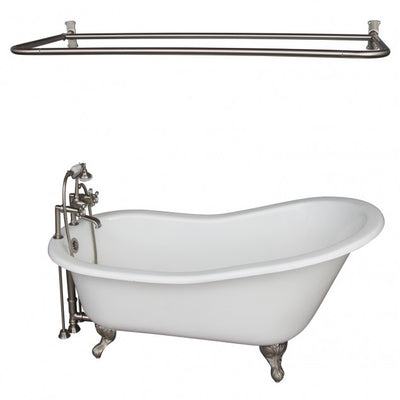Barclay Icarus 67″ Cast Iron Slipper Tub Kit Brushed Nickel in White Background