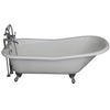 Barclay Icarus 67″ Cast Iron Slipper Tub Kit Polished Chrome in White Background