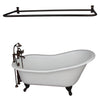 Barclay Icarus 67″ Cast Iron Slipper Tub Kit Oil Rubbed Bronze in White Background