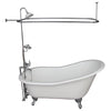 Barclay Griffin 61″ Cast Iron Slipper Tub Kit Polished Chrome in White Background