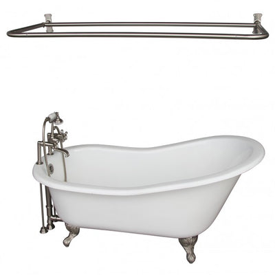 Barclay Griffin 61″ Cast Iron Slipper Tub Kit Brushed Nickel in White Background