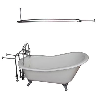 Barclay Griffin 61″ Cast Iron Slipper Tub Kit - No Holes Polished Chrome in White Background