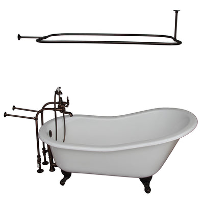 Barclay Griffin 61″ Cast Iron Slipper Tub Kit - No Holes Oil Rubbed Bronze in White Background