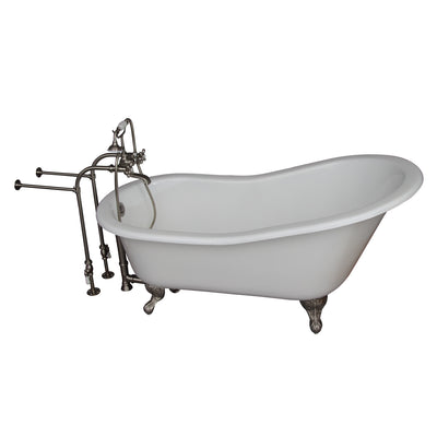 Barclay Griffin 61″ Cast Iron Slipper Tub Kit - No Holes Brushed Nickel in White Background
