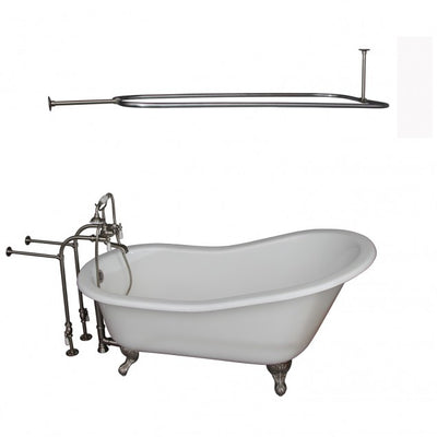 Barclay Icarus 67″ Cast Iron Slipper Tub Kit - No Holes Brushed Nickel in White Background