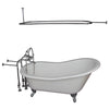 Barclay Icarus 67″ Cast Iron Slipper Tub Kit - No Holes Polished Chrome in White Background