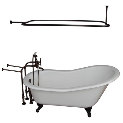 Barclay Icarus 67″ Cast Iron Slipper Tub Kit - No Holes Oil Rubbed Bronze in White Background