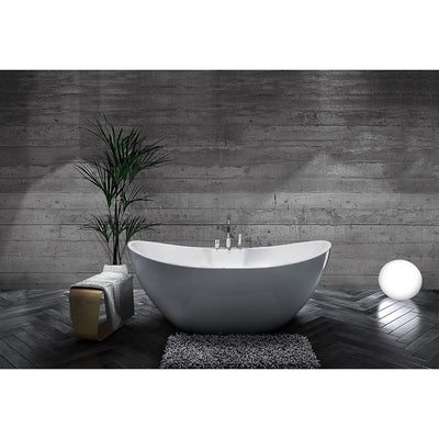 "A & E Bath and Shower Turin Acrylic 69"" All-in-One Oval Freestanding Tub Kit Freestanding Clawfoot Bathtubs Front View in Bathroom"