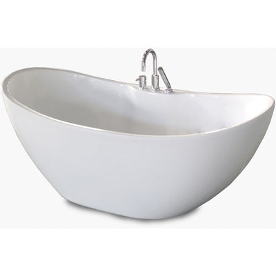 "A & E Bath and Shower Turin Acrylic 69"" All-in-One Oval Freestanding Tub Kit Freestanding Clawfoot Bathtubs Front View White Background"