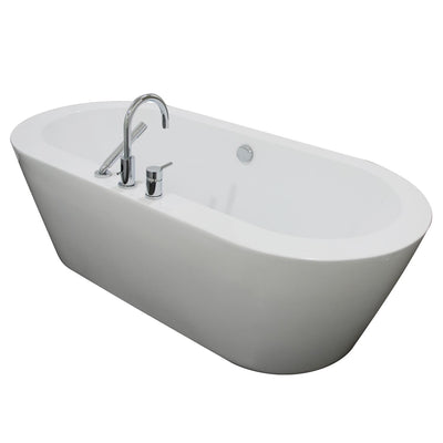 "A & E Bath and Shower Una Acrylic 71"" All-in-One Oval Freestanding Tub Kit Freestanding Clawfoot Bathtubs Back Side View White Background"