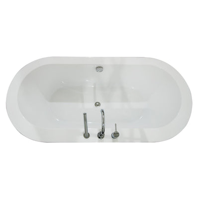 "A & E Bath and Shower Una Acrylic 71"" All-in-One Oval Freestanding Tub Kit  Freestanding Clawfoot Bathtubs Top View White Background"