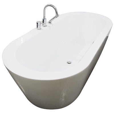 "A & E Bath and Shower Una Acrylic 71"" All-in-One Oval Freestanding Tub Kit Freestanding Clawfoot Bathtubs Left Side View White Background"