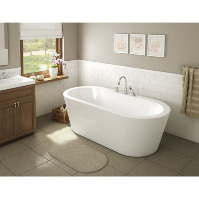 "A & E Bath and Shower Una Acrylic 71"" All-in-One Oval Freestanding Tub Kit  Freestanding Clawfoot Bathtubs Front View in Bathroom"