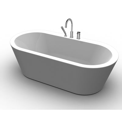 "A & E Bath and Shower Una Acrylic 71"" All-in-One Oval Freestanding Tub Kit Freestanding Clawfoot Bathtubs Front View White Background"