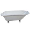 "Kingston Brass Aqua Eden 54"" Cast Iron Roll Top Clawfoot Tub with 3-3/8"" Tub Wall Drillings - VCT3D543019NT"