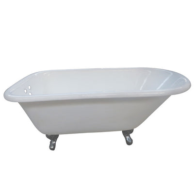 "Kingston Brass Aqua Eden 54"" Cast Iron Roll Top Clawfoot Tub with 3-3/8"" Tub Wall Drillings Chrome Feet Front View White Background"