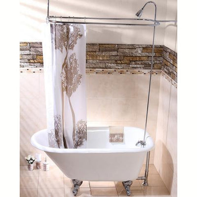 "Kingston Brass Aqua Eden 54"" Cast Iron Roll Top Clawfoot Tub with 3-3/8"" Tub Wall Drillings Chrome Feet Front Viewing Bathroom"