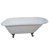 "Kingston Brass Aqua Eden 54"" Cast Iron Roll Top Clawfoot Tub with 3-3/8"" Tub Wall Drillings Oil Rubbed Bronze Feet Front View White Background"