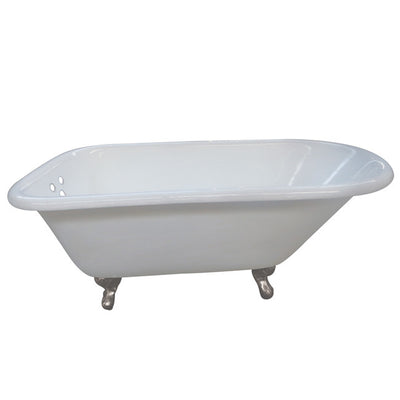"Kingston Brass Aqua Eden 54"" Cast Iron Roll Top Clawfoot Tub with 3-3/8"" Tub Wall Drillings Satin Nickel Feet Front View White Background"