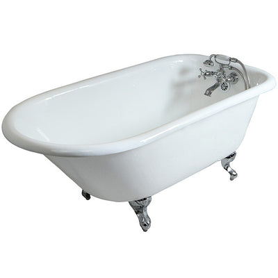 "Kingston Brass Aqua Eden 60"" Cast Iron Roll Top Clawfoot Freestanding Tub with 3-3/8"" Wall Drills Faucet Polished Feet Front View White Background"