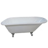 "Kingston Brass Aqua Eden 60"" Cast Iron Roll Top Clawfoot Freestanding Tub with 3-3/8"" Wall Drills Polished Feet Front View White Background"