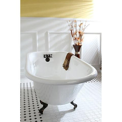 "Kingston Brass Aqua Eden 60"" Cast Iron Roll Top Clawfoot Freestanding Tub with 3-3/8"" Wall Drills Rubbed Oil Bronze Side View in Bathroom"
