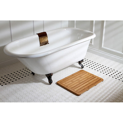 "Kingston Brass Aqua Eden 60"" Cast Iron Roll Top Clawfoot Freestanding Tub with 3-3/8"" Wall Drills Rubbed Oil Bronze Front View in Bathroom"