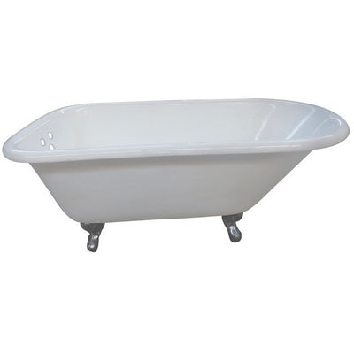 "Kingston Brass Aqua Eden 66"" Cast Iron Roll Top Clawfoot Tub with 3-3/8"" Tub Wall Drillings Freestanding Clawfoot Bathtubs Chrome Front View White Background"