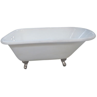"Kingston Brass Aqua Eden 66"" Cast Iron Roll Top Clawfoot Tub with 3-3/8"" Tub Wall Drillings Freestanding Clawfoot Bathtubs Satin Nickel Front View White Background"