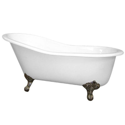 "Kingston Brass Aqua Eden 61"" Cast Iron Safe & Anti-Slide Slipper Freestanding Bathtub with 7"" Faucet Drillings Front View White Background"