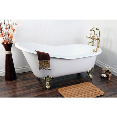 "Kingston Brass Aqua Eden 61"" Cast Iron Safe & Anti-Slide Slipper Freestanding Bathtub with 7"" Faucet Drillings Polished Brass Front View in Bathroom"