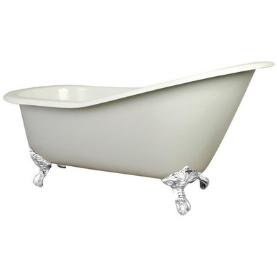 "Kingston Brass Aqua Eden 61"" Cast Iron Safe & Anti-Slide Slipper Freestanding Bathtub with 7"" Faucet Drillings White Front View White Background"